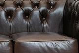 Chesterfield Sofa  First Class Leather   2-seater   Cloudy Brown Dark   12 years guarantee_