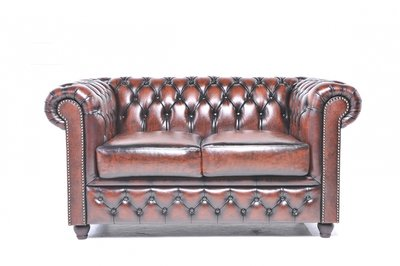 Chesterfield Sofa Original Leather | 2-seater  | Wash Off Brown | 12 years guarantee