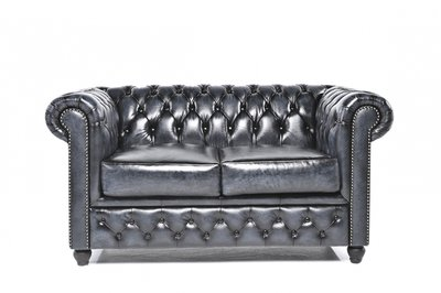 Chesterfield Sofa Original Leather | 2-seater  | Wash Off Blue | 12 years guarantee