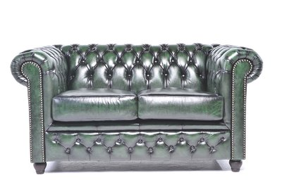 Chesterfield Sofa Original Leather | 2-seater  | Wash Off Green | 12 years guarantee