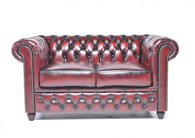 Chesterfield Sofa Original Leather | 2-seater  | Wash Off Red | 12 years guarantee
