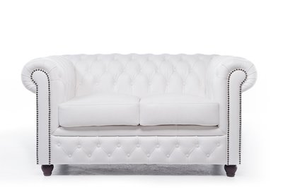 Chesterfield Sofa Original Leather | 2-seater  | White | 12 years guarantee