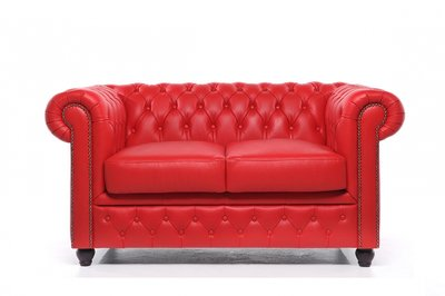 Chesterfield Sofa Original Leather | 2-seater  | Red | 12 years guarantee