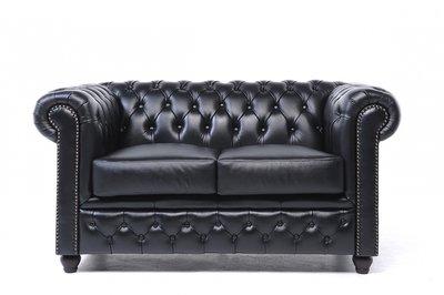 Chesterfield Sofa Original Leather   2-seater    Black   12 years guarantee
