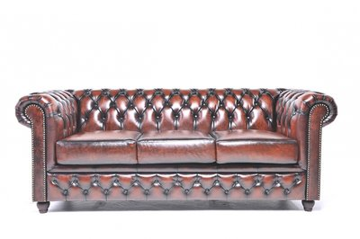 Chesterfield Sofa Original Leather | 3-seater  | Wash Off Brown | 12 years guarantee