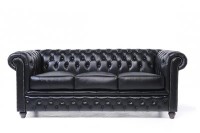 Chesterfield Sofa Original Leather | 3-seater  | Black | 12 years guarantee