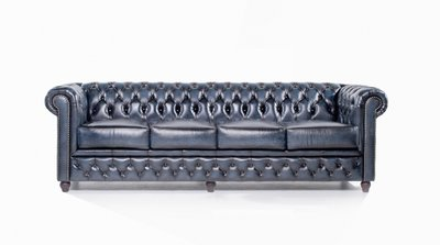 Chesterfield Sofa Original Leather | 4-seater  | Wash Off Blue | 12 years guarantee