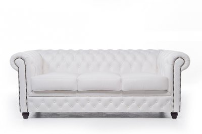 Chesterfield Sofa Original Leather | 3-seater  | White | 12 years guarantee