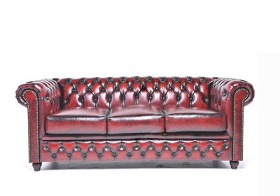 Chesterfield Sofa Original Leather | 3-seater  | Wash Off Red | 12 years guarantee