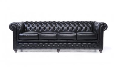 Chesterfield Sofa Original Leather | 4-seater  | Black | 12 years guarantee