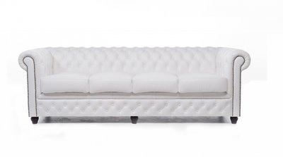Chesterfield Sofa Original Leather | 4-seater  | White | 12 years guarantee