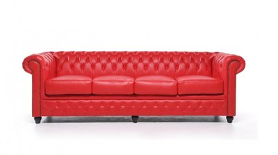 Chesterfield Sofa Original Leather   4-seater    Red   12 years guarantee