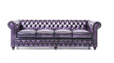 Chesterfield Sofa Original Leather | 4-seater  | Wash Off Purple | 12 years guarantee