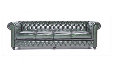 Chesterfield Sofa Original Leather | 4-seater  | Wash Off Green | 12 years guarantee