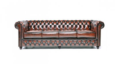 Chesterfield Sofa Original Leather | 4-seater  | Wash Off Brown | 12 years guarantee