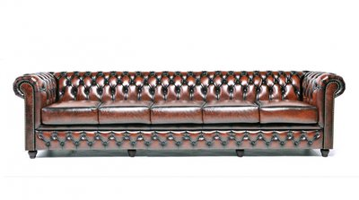 Chesterfield Sofa Original Leather | 5-seater  | Wash Off Brown | 12 years guarantee
