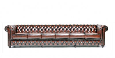 Chesterfield Sofa Original Leather | 6-seater  | Wash Off Brown | 12 years guarantee