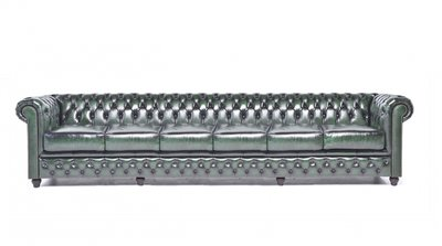 Chesterfield Sofa Original Leather | 6-seater  | Wash Off Green | 12 years guarantee