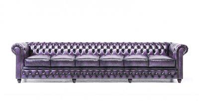 Chesterfield Sofa Original Leather | 6-seater  | Wash Off Purple | 12 years guarantee