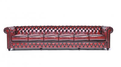 Chesterfield Sofa Original Leather | 6-seater  | Wash Off Red | 12 years guarantee