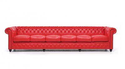 Chesterfield Sofa Original Leather | 6-seater  | Red | 12 years guarantee