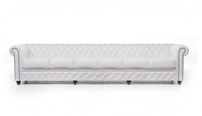 Chesterfield Sofa Original Leather | 6-seater  | White | 12 years guarantee