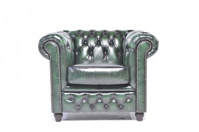 Chesterfield Armchair Original Leather | Wash Off Green | 12 years guarantee