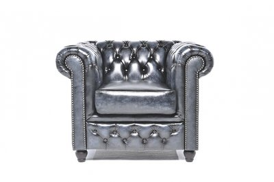 Chesterfield Armchair Original Leather   Wash Off Blue   12 years guarantee