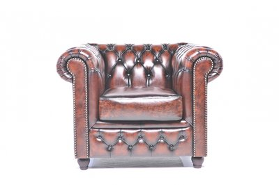 Chesterfield Armchair Original Leather | Wash Off Brown | 12 years guarantee