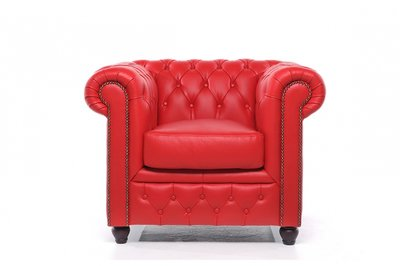 Chesterfield Armchair Original Leather   Red   12 years guarantee