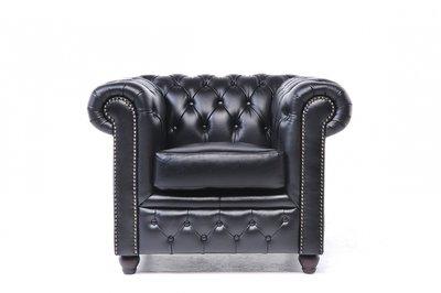 Chesterfield Armchair Original Leather | Black | 12 years guarantee