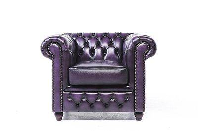 Chesterfield Armchair Original Leather | Wash Off Purple | 12 years guarantee