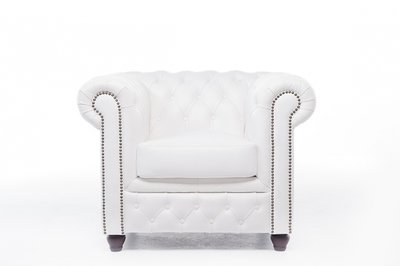 Chesterfield Armchair Original Leather | White | 12 years guarantee