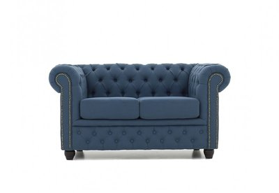 Chesterfield Sofa Fabric Pitch | 2-seater  | Blue | 12 years guarantee