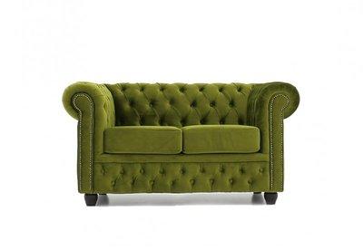 Chesterfield Sofa Fabric Velvet   2-seater    Green   12 years guarantee