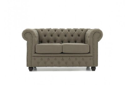Chesterfield Sofa Fabric Pitch | 2-seater  | Beige | 12 years guarantee