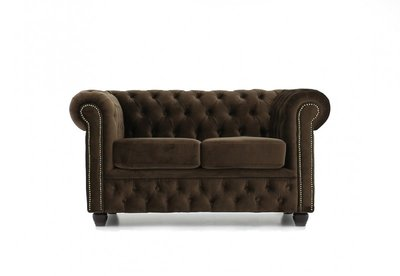 Chesterfield Sofa Fabric Velvet | 2-seater  | Brown | 12 years guarantee