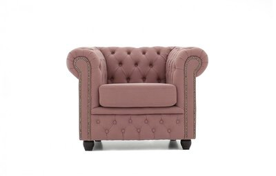 Chesterfield Armchair Fabric Pitch | Old Pink | 12 years guarantee