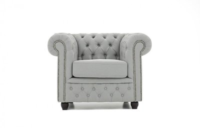 Chesterfield Armchair Fabric Pitch | Light Gray | 12 years guarantee