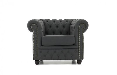 Chesterfield Armchair Fabric Pitch   Dark gray   12 years guarantee
