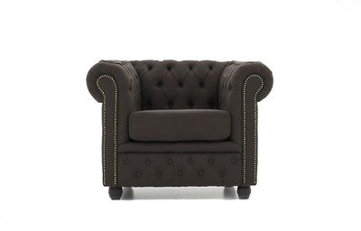 Chesterfield Armchair Fabric Pitch | Brown | 12 years guarantee