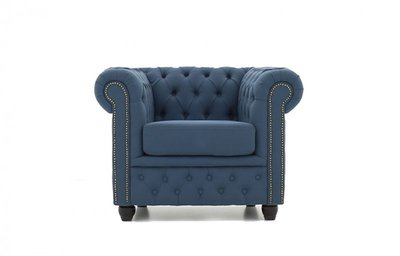 Chesterfield Armchair Fabric Pitch | Blue | 12 years guarantee