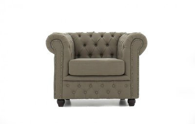 Chesterfield Armchair Fabric Pitch | Beige | 12 years guarantee