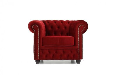 Chesterfield Armchair Fabric Velvet | Red | 12 years guarantee