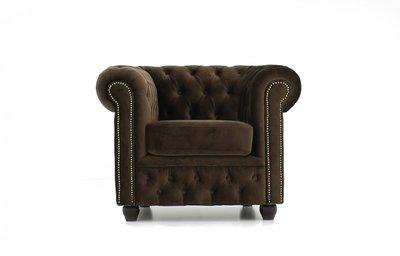 Chesterfield Armchair Fabric Velvet | Brown | 12 years guarantee