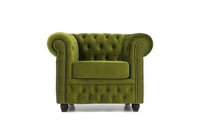 Chesterfield Armchair Fabric Velvet   Green   12 years guarantee