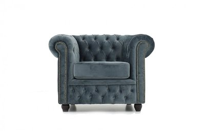 Chesterfield Armchair Fabric Velvet | Gray | 12 years guarantee