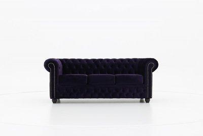 Chesterfield Sofa Fabric Velvet | 3-seater  | Dark Purple | 12 years guarantee