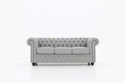 Chesterfield Sofa Fabric Pitch | 3-seater  | Light Gray | 12 years guarantee