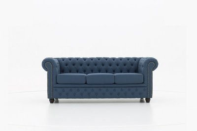 Chesterfield Sofa Fabric Pitch | 3-seater  | Blue | 12 years guarantee